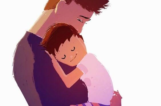 Sensitive boy hugs