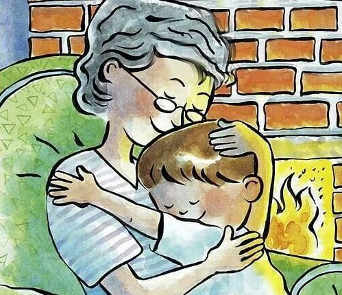 Animated picture of grandma hugging grandson