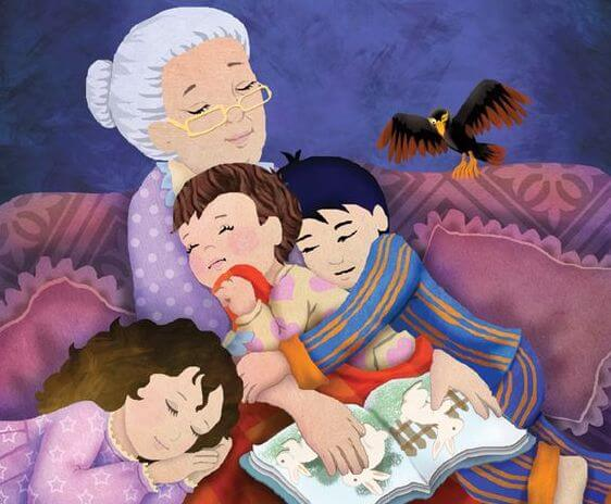 Animated image of grandma with three grandchildren in her arms