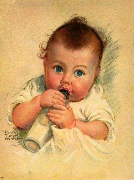 drawing of baby drinking from a bottle
