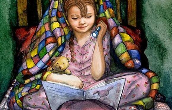 girl reading children's stories with flashlight