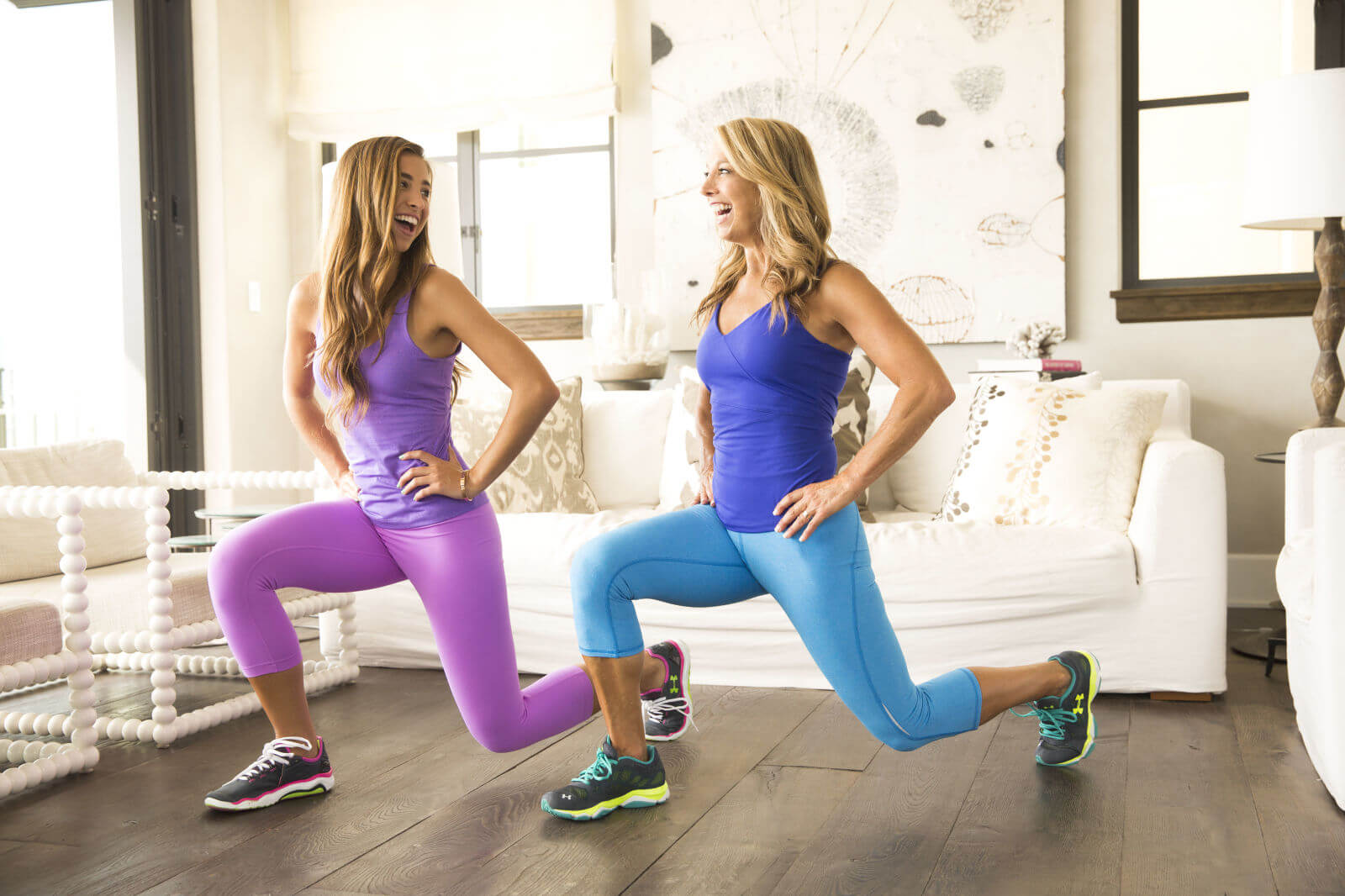 two moms who work out together