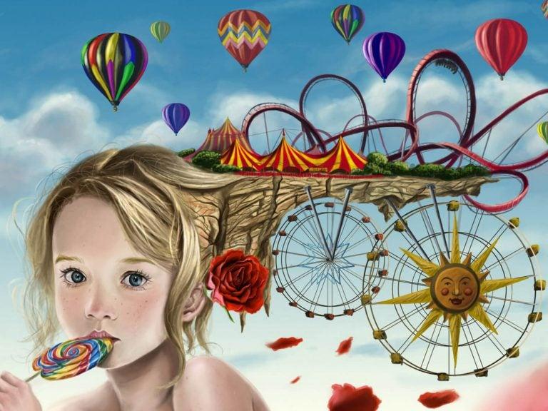 tegning af pige med slikkepind og imaginær forlystelsespark