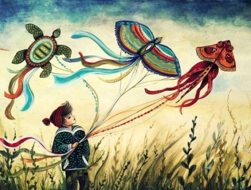 drawing of girl holding colorful kites