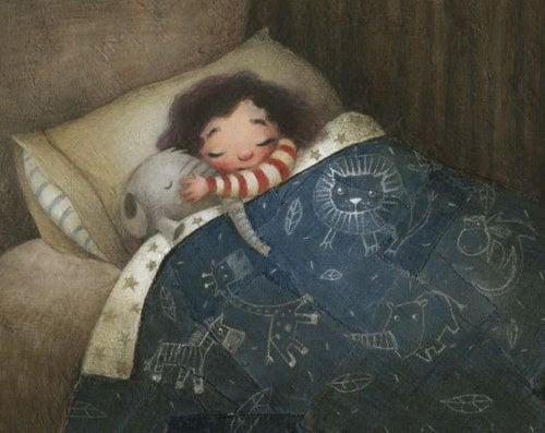cartoon of a baby sleeping with a stuffed animal