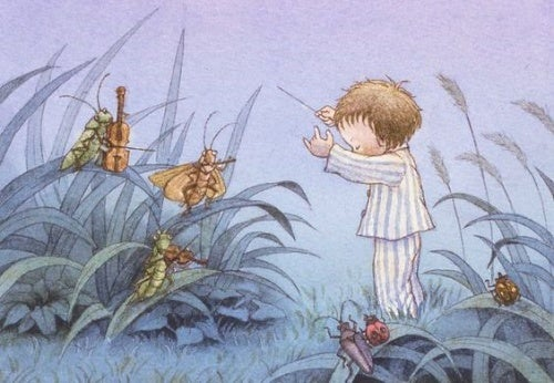 cartoon of a baby in their pajamas in a field