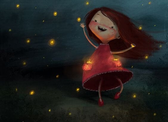 drawing of girl in the star-lit sky