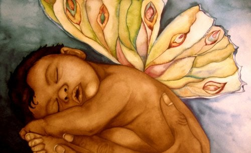 drawing of sleeping baby with butterfly wings
