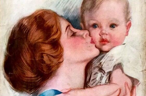 Mom-kissing-son-painting
