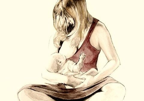 drawing of mother breastfeeding her baby