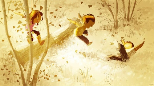 drawing of children playing in the forest