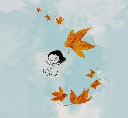 drawing of little girl floating in the air with leaves