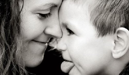 black and white photo of mother and child