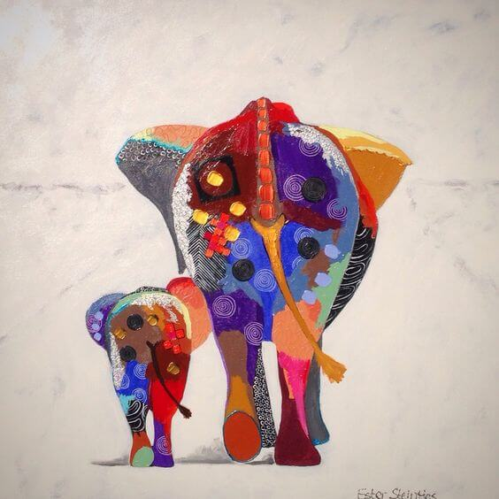 colorful drawings of elephants