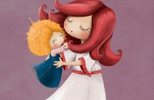 drawing of a little girl who wants to be held by her mother