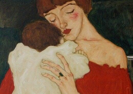 tavla av mor och barn