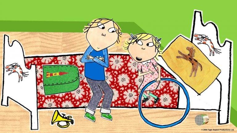 animation af forældre og barn i en seng