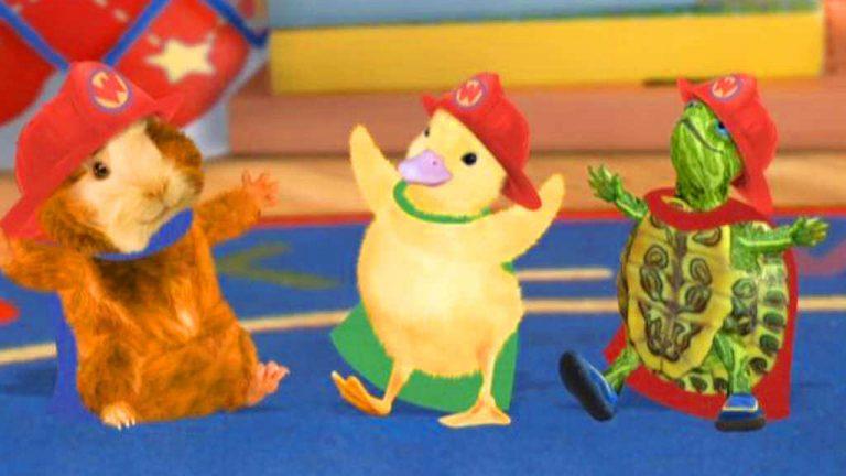 hamster, and og skildpadde med røde hatte