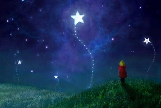 Child looking at the stars