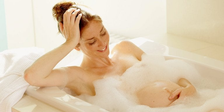 Pregnant woman in bathtub