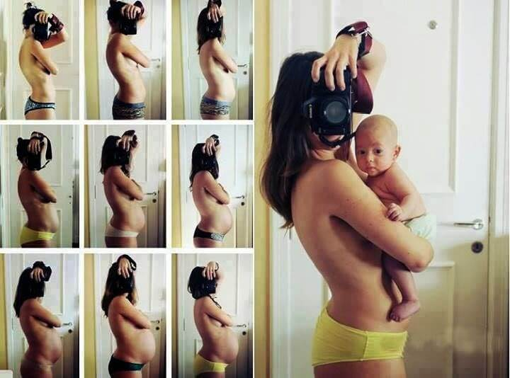 pregnant woman taking pictures