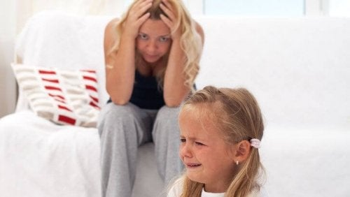 Girl with tantrum and stressed mum