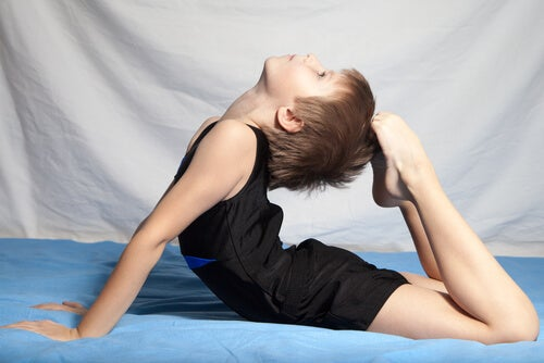 Boy doing artistic gymnastics