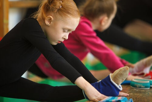 Girl doing artistic gymnastics