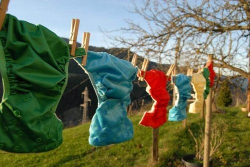 Washing line with cloth diapers