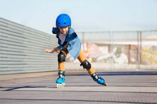 A child on roller blades.