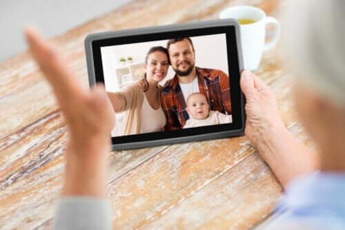 A family on a video call.