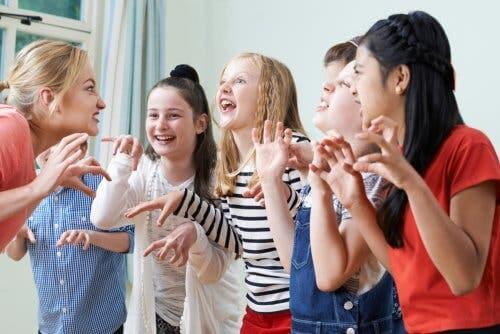 Children in theatre class.