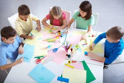Children working on a group project.