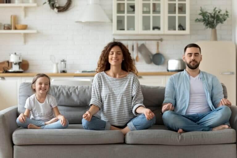 A family meditating.