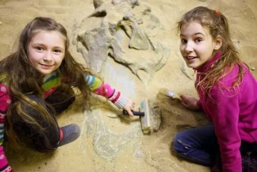Two girls in an archeological museum.