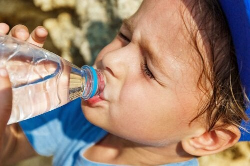 A child drinking water.