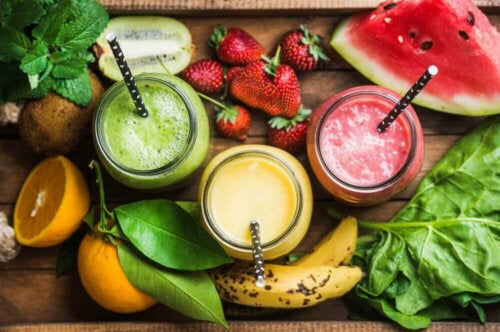 Fruit and smoothies.