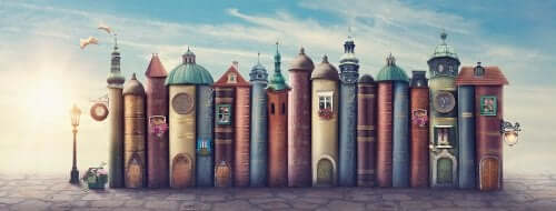 An illustration of a row of books that look like a row of buildings on a street.