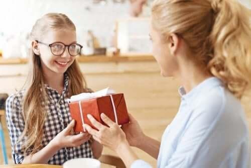 Girls exchanging gifts.