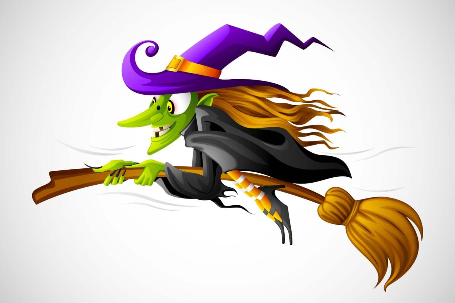 A cartoon drawing of a witch riding on a broom.