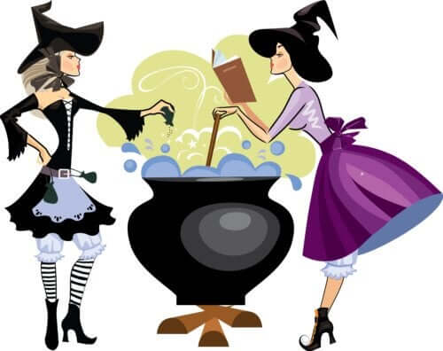 A cartoon drawing of two witches preparing a potion in a black cauldron.