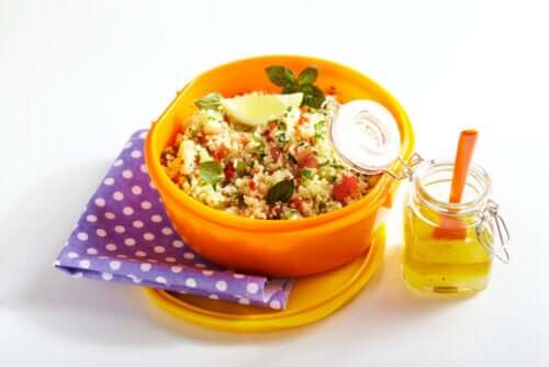 Healthy couscous lunch box.