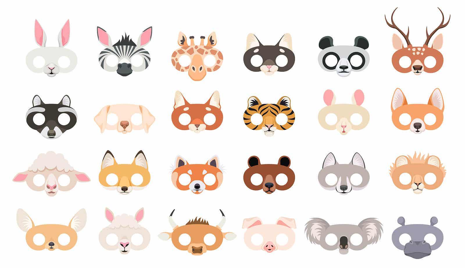 A variety of animal masks.