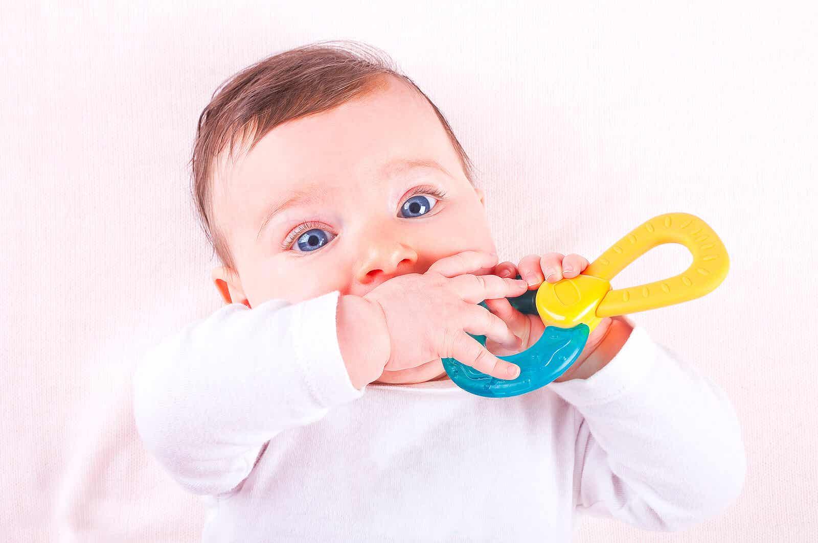 Baby teething.