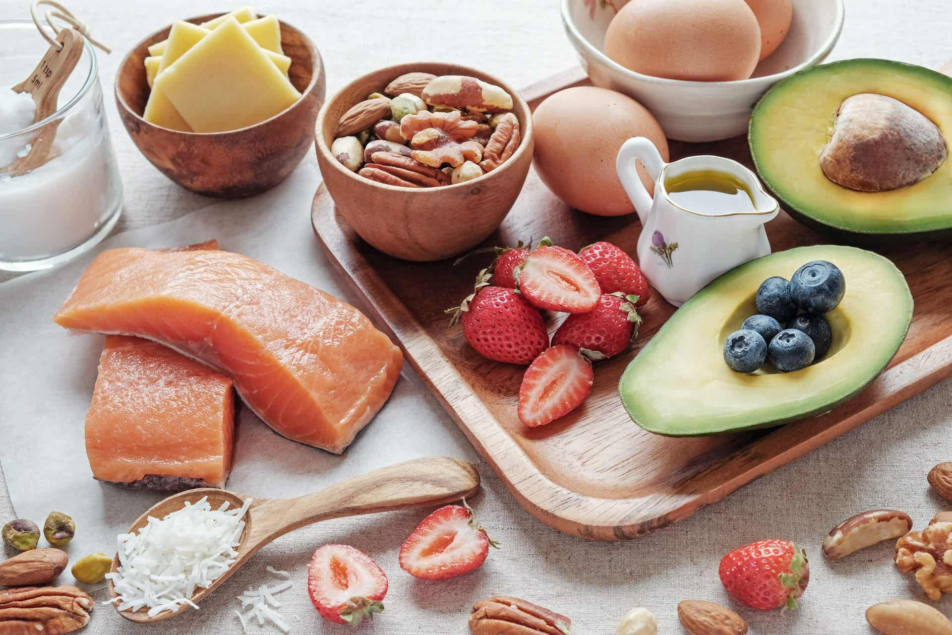 Salmon, nuts, eggs, cheese, berries, and avocado.