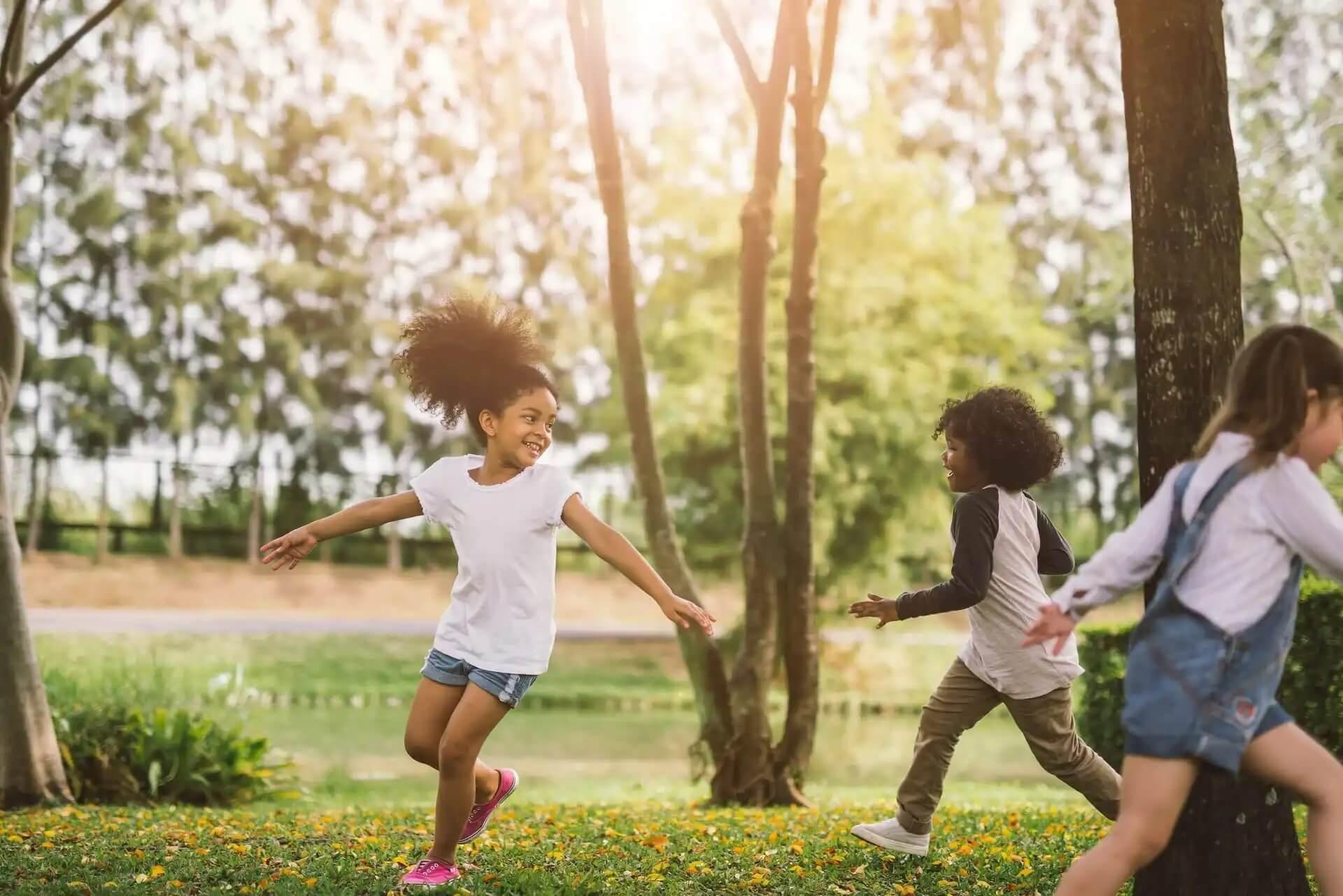 Some girls running.