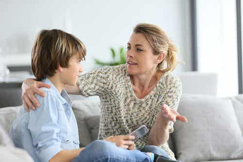 Mother talking to son about an uncertain future.