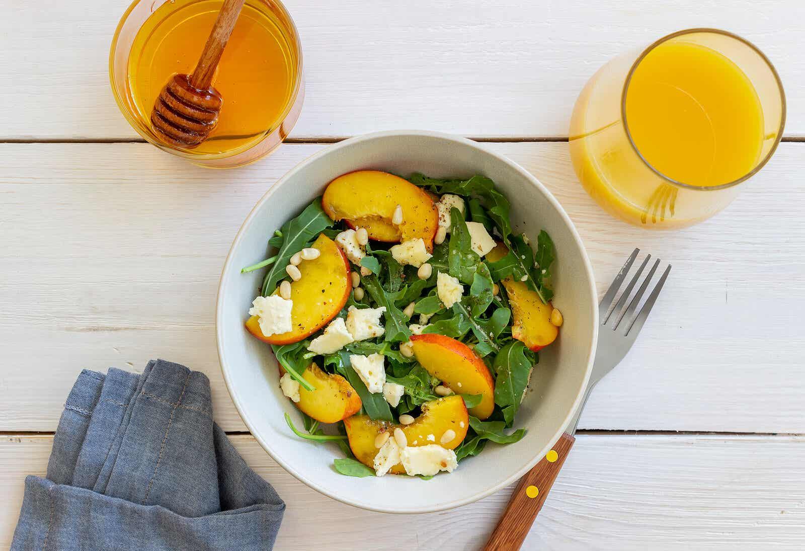 Peach and arugula salad.