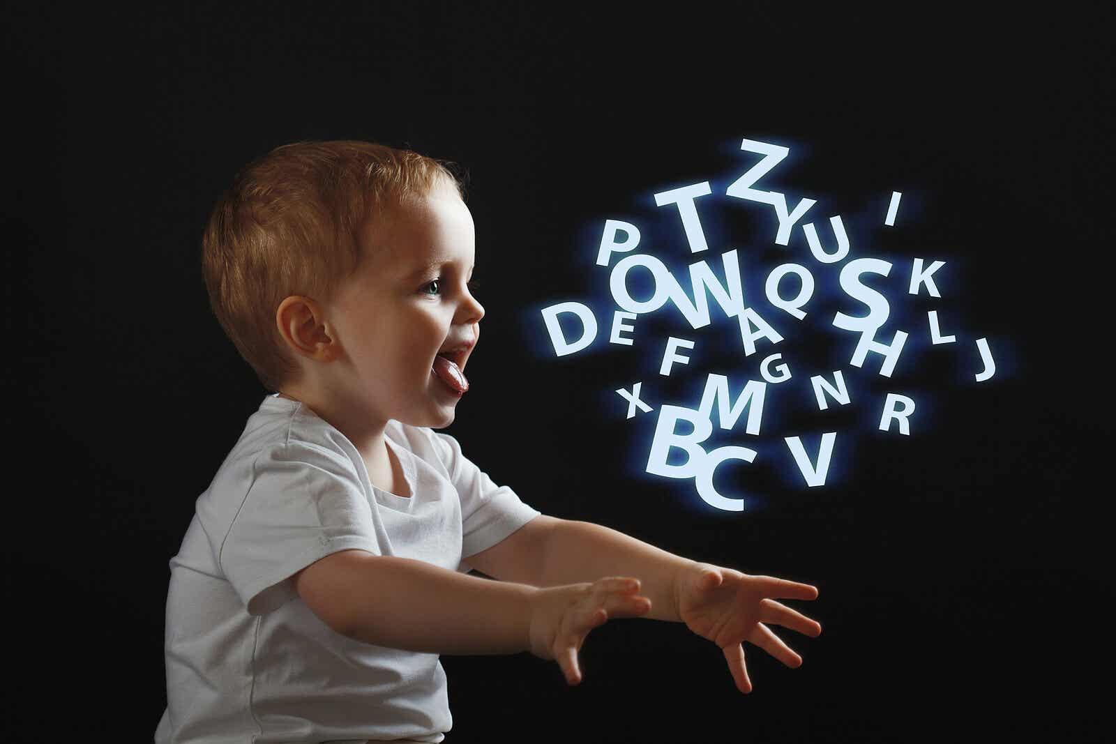 Boy producing phonemes.