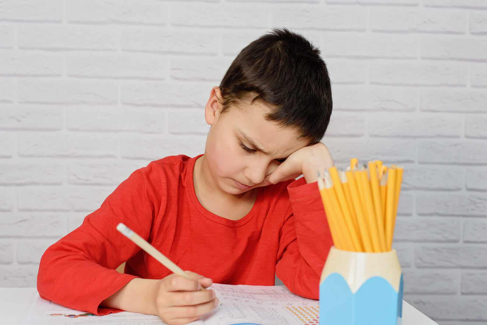 A child who's struggling to study.
